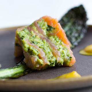 Avocado Salmon Terrine With Yellow Pepper Coulis