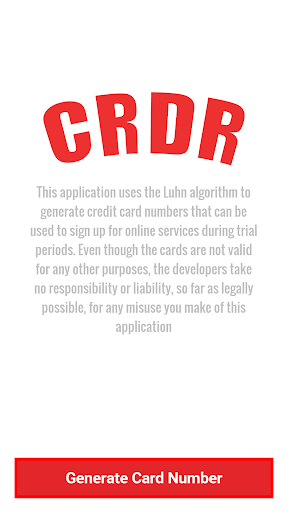 CRDR Credit Card Generator CVV screenshot 1