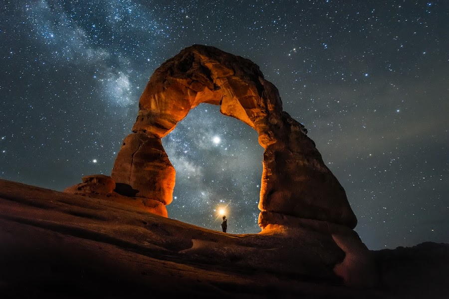 Enlightened by Givanni Mikel - Landscapes Starscapes ( utah, milky way, nightscape, long exposure, delicate arch, arches )