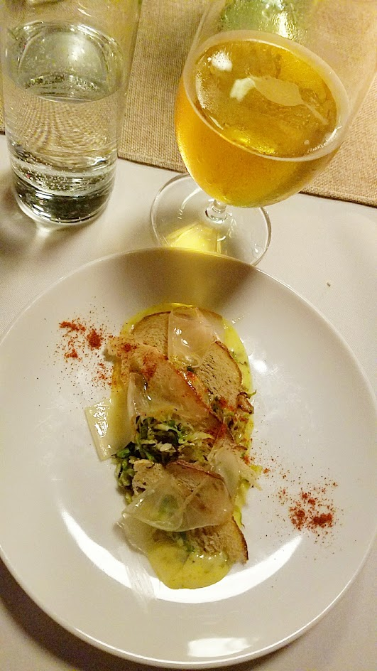 Imperial Session New England Beer Dinner, Seared shaved brussels, Bearnaise with tarragon and capers, Lardo, crispy crostini. Paired with Von Trapp Helles