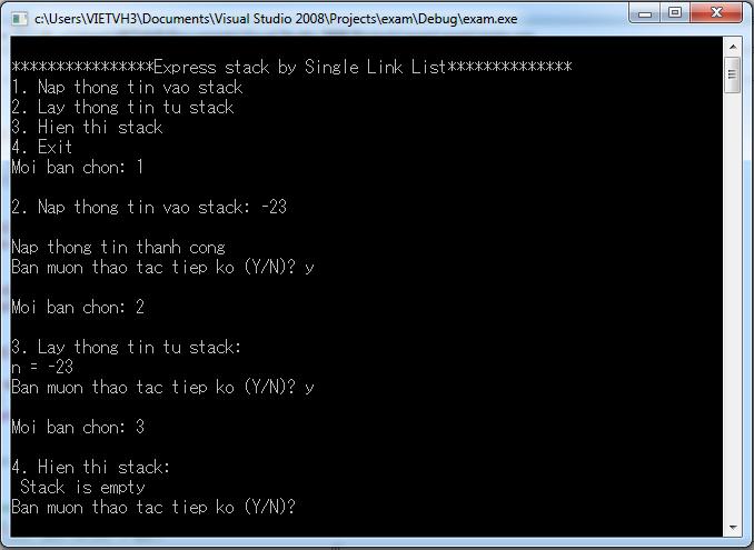 Biểu diễn stack bằng danh sách liên kết đơn