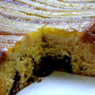 Chocolate-Peanut-Butter-Banana Upside Down Cake.