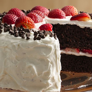 Chocolate Strawberry Cake with Fluffy Frosting.