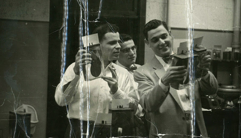 Photo: Phillip Lerner (left) in medical school, 1958. - - - - Phillip is the subject of his son Barron Lerner's book The Good Doctor: A Father, a Son, and the Evolution of Medical Ethics (2014, Beacon Press).