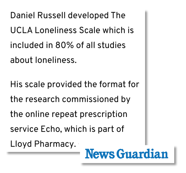 A screenshot of an excerpt from the News Guardian's coverage of our campaign on loneliness for our client Echo. The expert Daniel Russell is referenced in the excerpt.