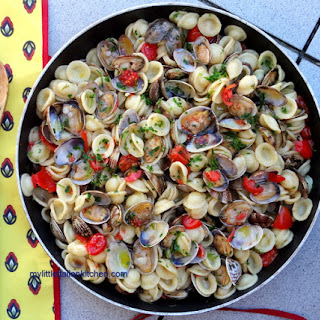 Pasta Vongole (clams) in tomato sauce.