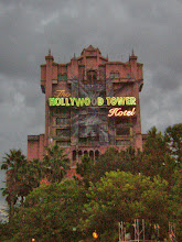 Photo: An ominous Hollywood Tower Hotel rising up to the impending storm. Just adds to the spookiness.