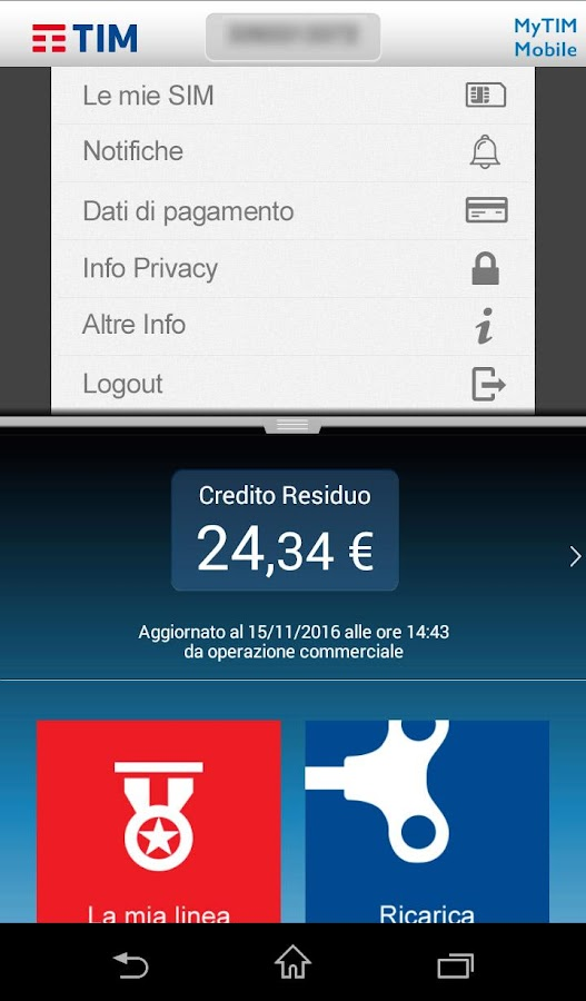 MyTIM Mobile- screenshot