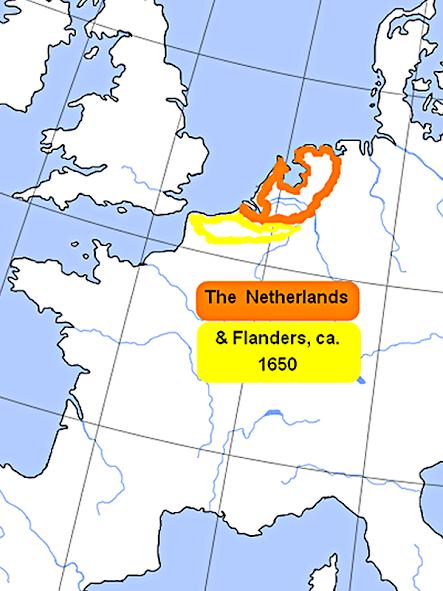 map of Netherlands & Flanders around 1650