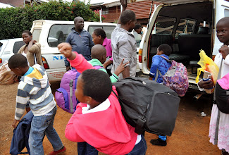 Photo: Did all of those kids really fit into that small van with all of those suitcases. Yep!