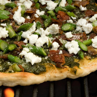 Bacon, Asparagus, and Goat Cheese Grilled Pizza