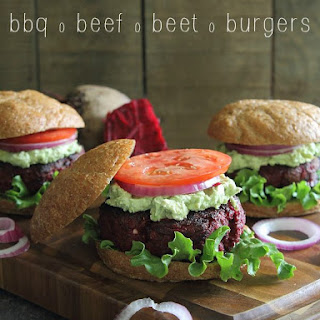 BBQ beef beet burgers with avocado goat cheese smash.