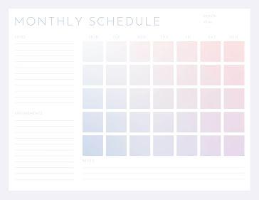 Gradient Month - Planner template