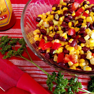 Zesty Black Beans and Corn Salad with Red Peppers.