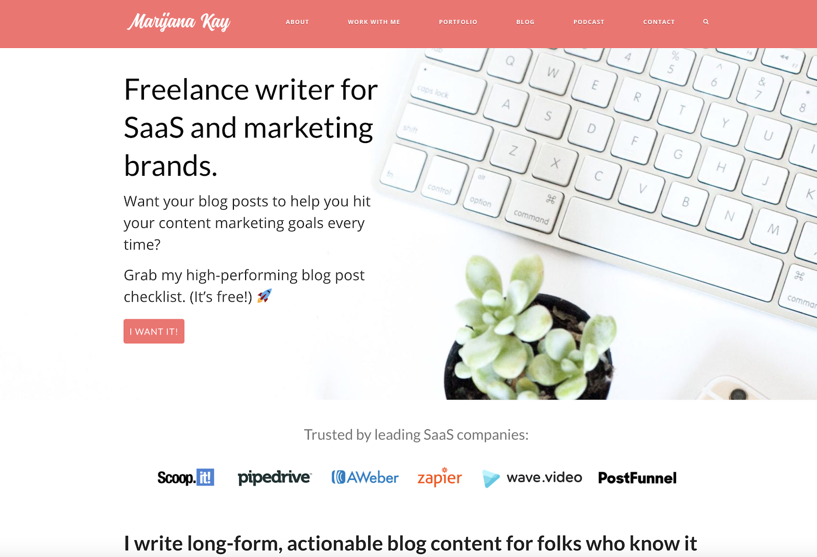 B2B freelance writer website example