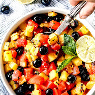 Watermelon Pineapple Summer Salad with Honey Lime Mint Dressing.