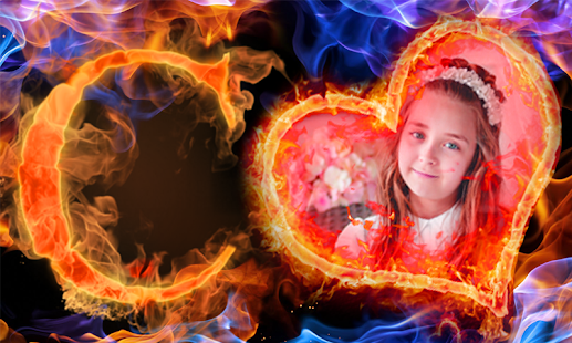 Fire Text Photo Frames New Latest - náhled