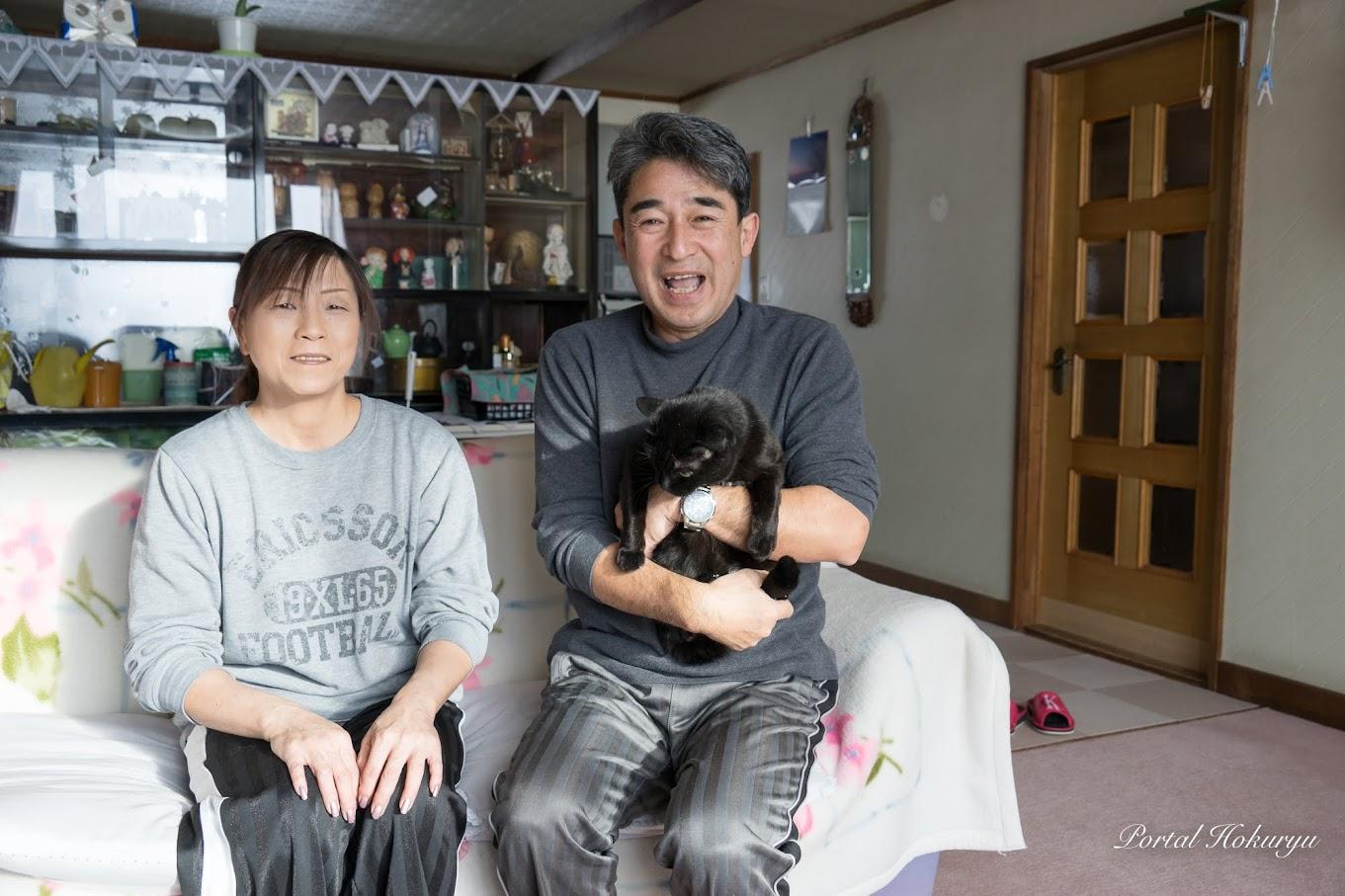 勝美さん(中)、静子さん(左)、ジャックちゃん