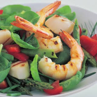 Prawn, Scallop And Asparagus Salad With Ginger Dressing.