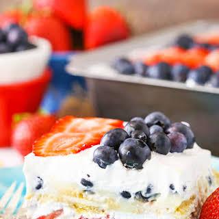 Strawberry and Blueberry Cheesecake Icebox Cake.