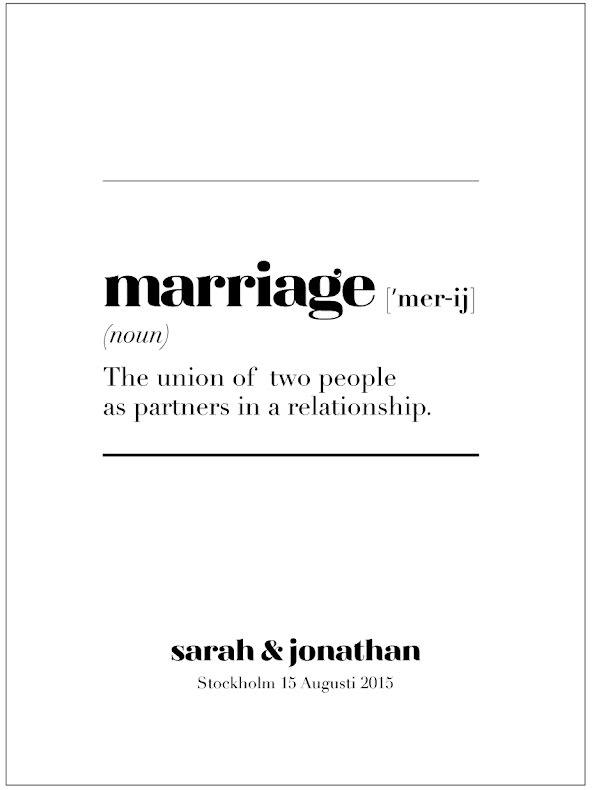 MARRIAGE IS bröllopstavla/bröllopsposter