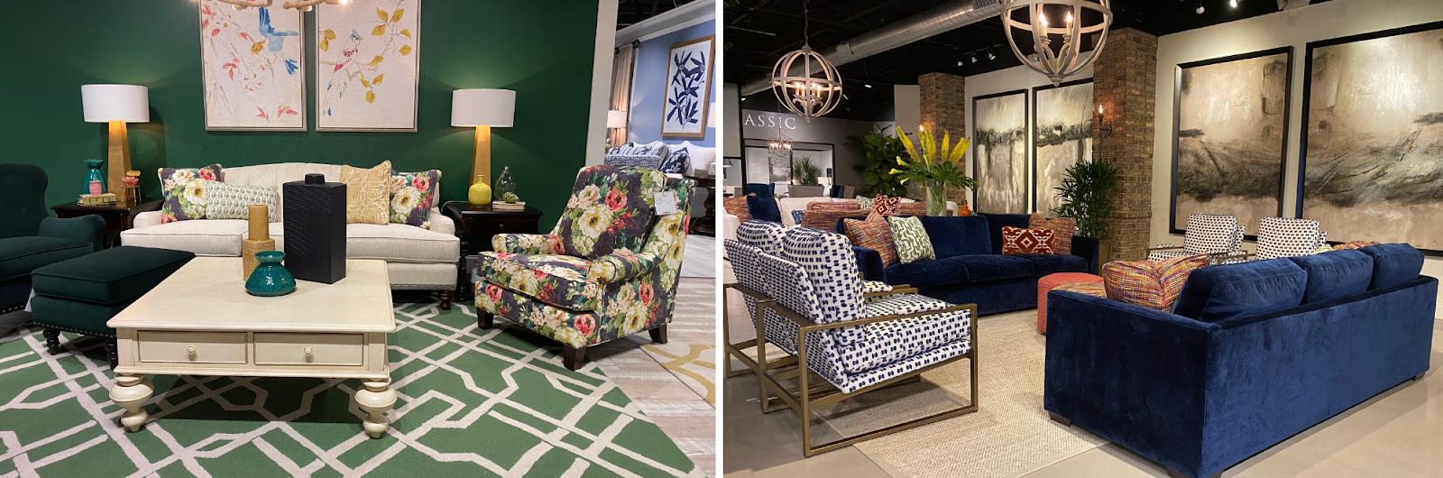 superior-construction-lebanon-tn-select-durable-fabrics-bold-vibrant-navy-and-emerald-inspired-showroom-set-ups
