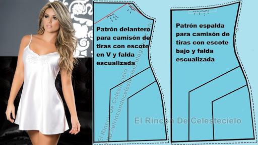 camisola de tiras escote en V falda escualizada con patrones explicativos