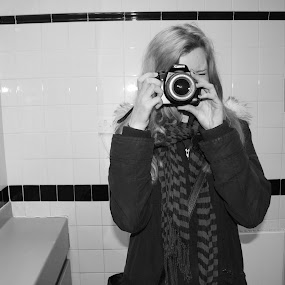 Photographer.2 by Kirsty Adams - People Portraits of Women ( girl, black and white, camera, bathroom, dslr )