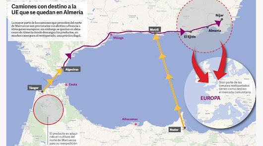 Mapa de la ruta seguida por los camiones desde Marruecos a Almería