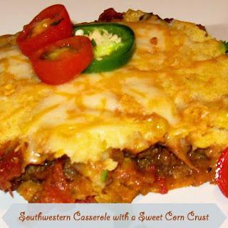 Southwestern Casserole With A Sweet Corn Crust.