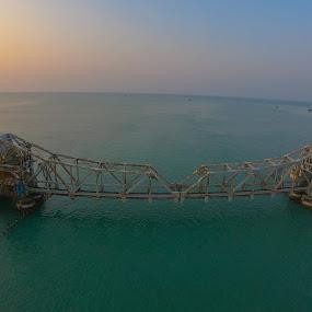 Pamban Bridge by Abhisek Datta - Buildings & Architecture Bridges & Suspended Structures ( pamban, pambanbridge, bridge )