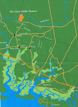 Photo: Location Map. This map shows the proximity of The Great Satilla Preserve to the beaches of The Golden Isles. The entrance to the Preserve is thirty five miles from the St. SImons Island causeway.