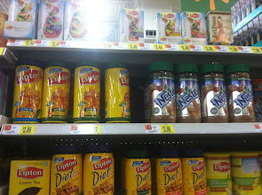 Photo: Very top shelf I spot the Lipton Honey & Tea packets.