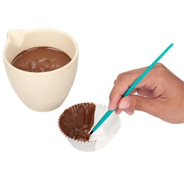 Hold standard baking cup in your hand. Use an angled spatula or Decorator Brush...