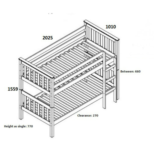 Single bed dimensions in mm - Birlea Seattle Bunk Beds