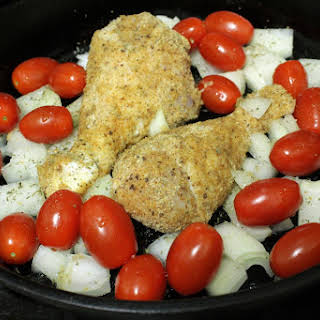 One Pot, Full Of Flavor (mustardy Breaded Chicken Legs With Tomatoes And Onions).