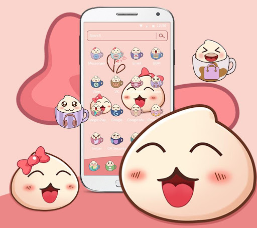 Cartoon Lovely Peach Expression Theme 1.1.4 screenshots 2