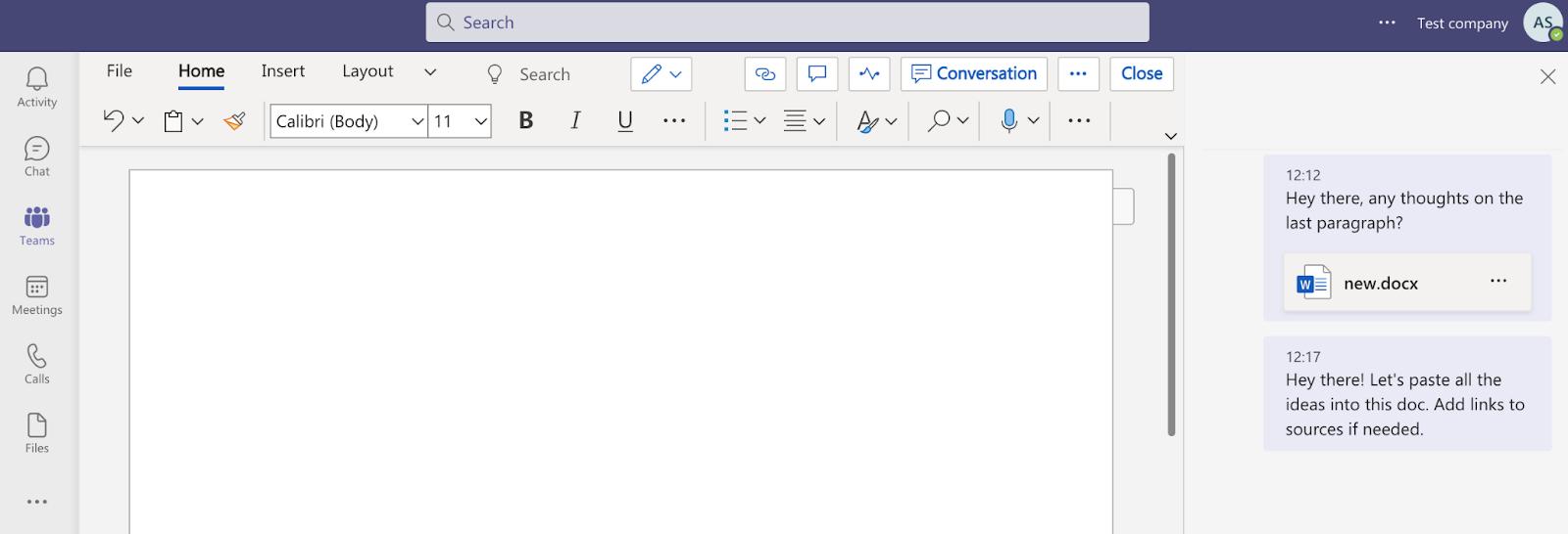 Editing a Word document on Microsoft Teams