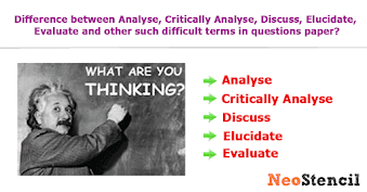 Difference between Analyse, Critically Analyse, Discuss, Elucidate, Evaluate and other such difficult terms in questions paper