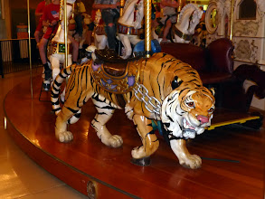 Photo: Grant wanted to ride the Bengal Tiger, since that was his flag football team. Then he noticed it wouldn't bounce, so opted for a horse.