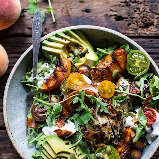 Balsamic Peach Basil Chicken Salad with Crispy Prosciutto.