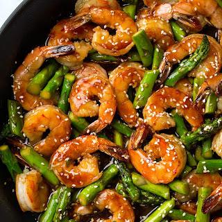 Teriyaki Shrimp and Asparagus.