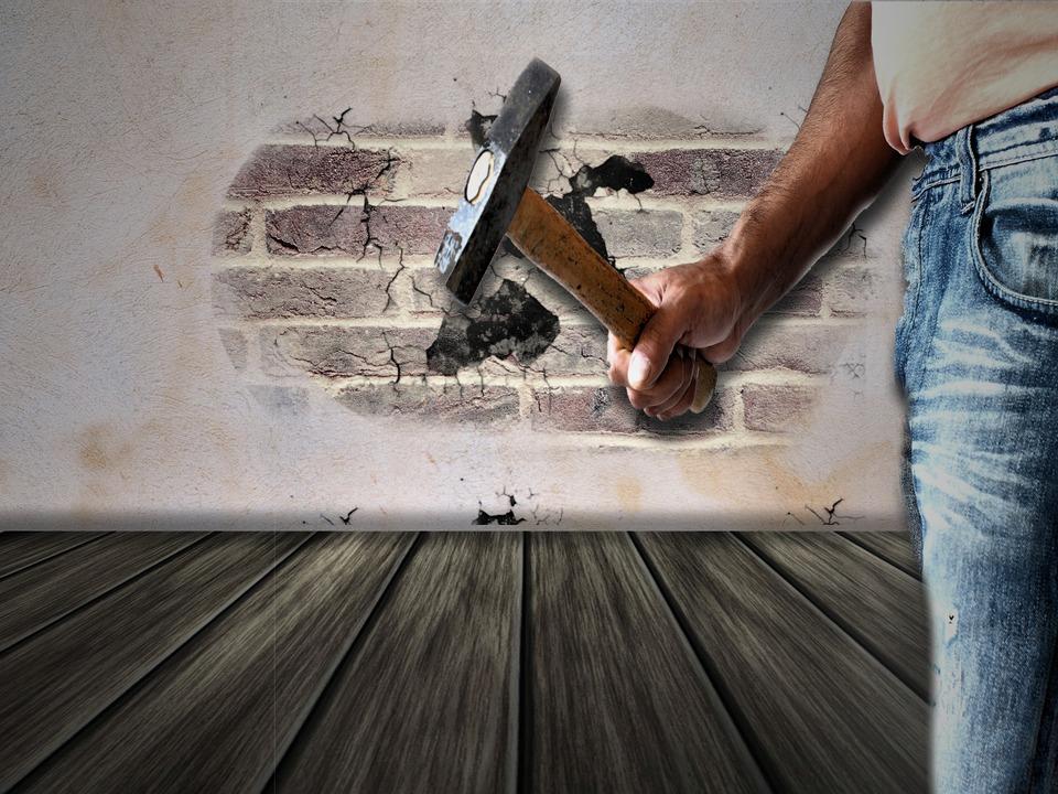 Work, Home Improvement, Wall, Hammer, Diy, Demolition