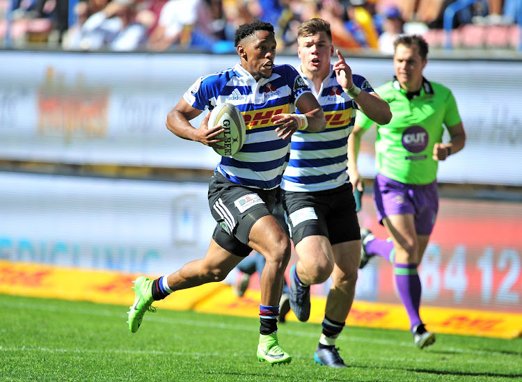 Craig Barry of Western Province heads for the try line with teammate Huw Jones in support during 2017 Currie Cup game against the Cheetahs at Newlands Rugby Stadium, Cape Town on 9 September 2017.