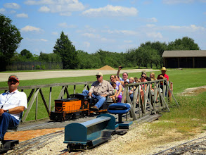 Photo: Brian Campopiano (conductor) watching the photographer while Bob Barnett pulls into the station with the last train of the day at 1:56 PM, some 56 minutes after closing.      HALS Public Run Day 2015-0919 RPW