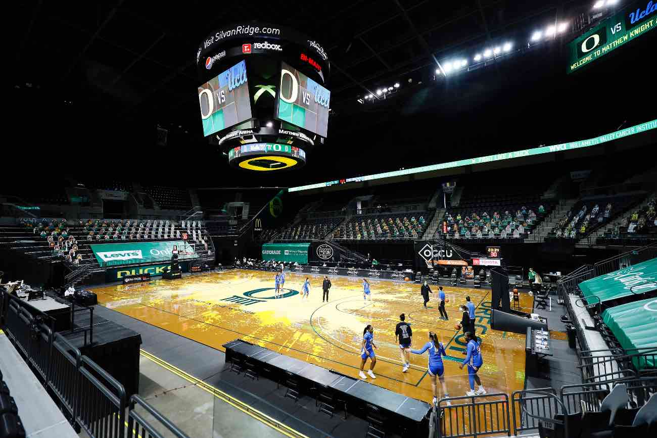 EUGENE, OREGON - JANUARY 03: A general view of the court as the UCLA Bruins warm up before the game against the Oregon Ducks at Matthew Knight Arena on January 03, 2021 in Eugene, Oregon. (Photo by Soobum Im/Getty Images)