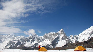 Photo: Kharta Valley, our spectacular snow campsite just below the Langma La