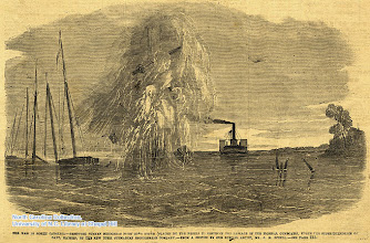 """Photo: """"Removing sunken schooners from Core Sound (placed by the rebels to obstruct the passage of Federal gunboats), under the superintendence of Capt. Hayden, of the New York submarine engineering company."""" Frank Leslie's Illustrated Newspaper, July 5, 1862."""