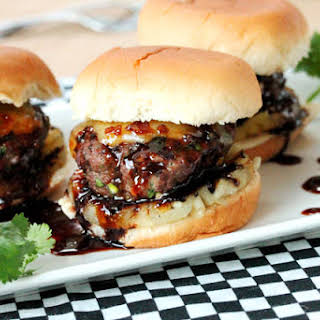 Grilled Cilantro Burger Sliders with Teriyaki and Pineapple.