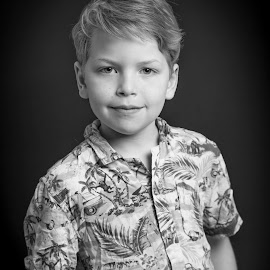 8 Year Old Brother Attitude by Jamie Ledwith - Babies & Children Child Portraits ( b&w, black and white, portrait, boy, child, attitude )